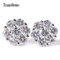 Transmems 1,60 CTW F цвет прозрачный Moissanite серьги гвоздики с бриллиантами в форме цветка из твердого белого золота пуш ап для женщин