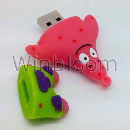 Patrick Heart USB Flash Drive 4GB 8GB 16GB 32GB Real Capacity Thumb Drive PU0126
