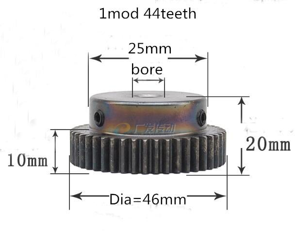 1pc Spur gear pinion 1mod 44teeth 1M44T metal motor boss gear inner hole 6-12mm gear rack transmission RC boss rc 3