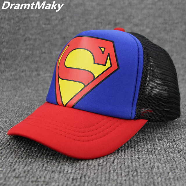 Fashion Superman Baseball Caps Hip Hop Cap Children Kids Snapback Caps Gorras Planas Male Mesh Summer Hats New wholesale bone