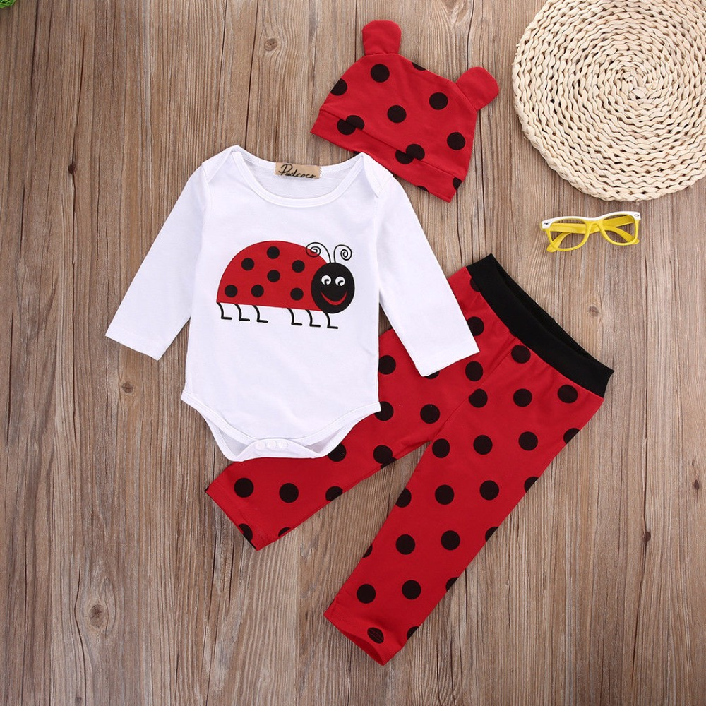3pcs suit!! Newborn Infants Baby Boys Girls Rompers +Long Pants +Hats cartoon Outfits Set Clothes
