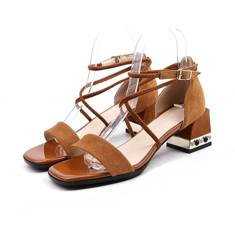 Vestido Abierta Grandes Tamaño Tacón {zorssar} Mujer Moda Perlas Alto 42 marrón Punta 2018 Fiesta Zapatos Negro Sandalias De Verano q6Zz1qOw
