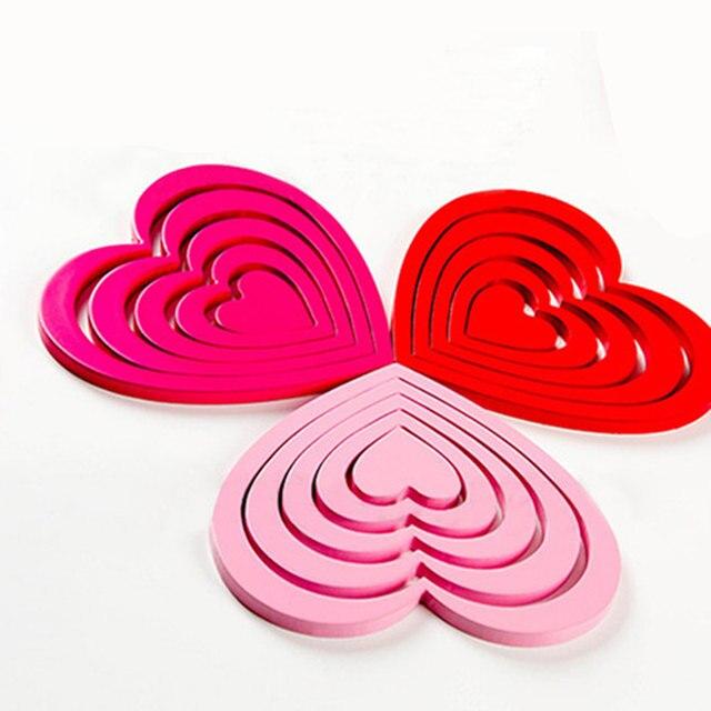 Online Shop 5pcs / set !DIY heart-shaped wooden 3D wall stickers ...