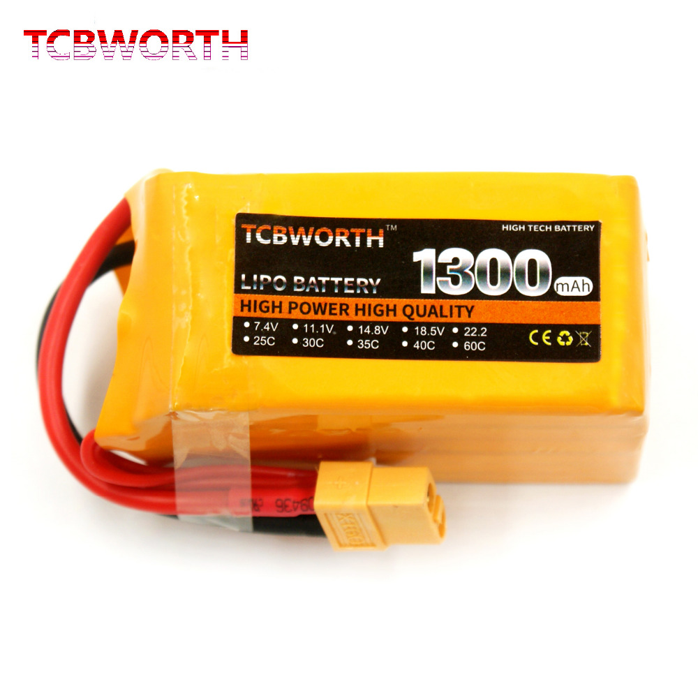 TCBWORTH RC <font><b>LiPo</b></font> battery <font><b>6S</b></font> 22.2V <font><b>1300mAh</b></font> 30C For RC Helicopter Airplane Quadrotor Drone Toy Cell image