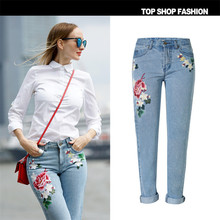 Liva GirlEurope and the United States women'sLadies 3D pastoral stereo embroidery ladies rose Loose Jeans Straight new big yards