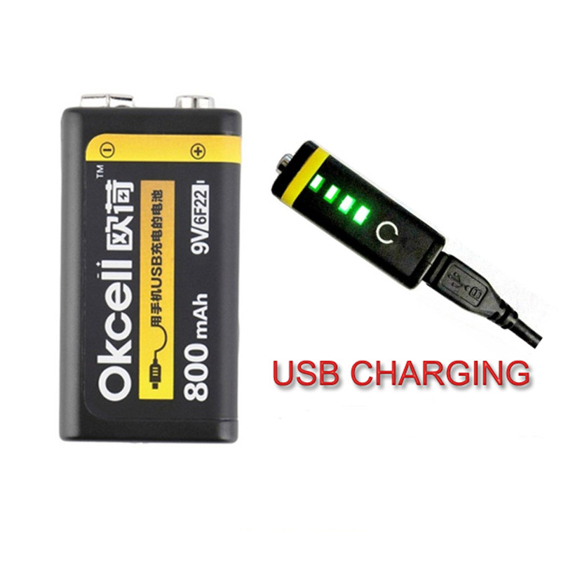 Original OKcell 9V 800mAh USB Rechargeable Lipo Battery for RC Helicopter Model Microphone Spare Part