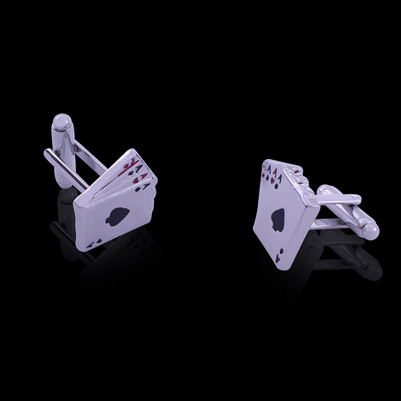 Occident Jewelry Shirt Studs Poker Cufflinks French T-Shirt Accessories Cards Cuff links For Men Christmas Gift Dropshipping