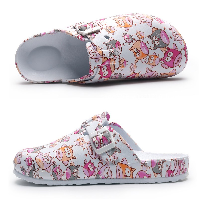 Hospital Surgical Medical Slippers Floral Printed Doctor Nurse Dentist Waiter Workwear Cleaning Shoes Lab SPA Beauty Salon Shoes 2