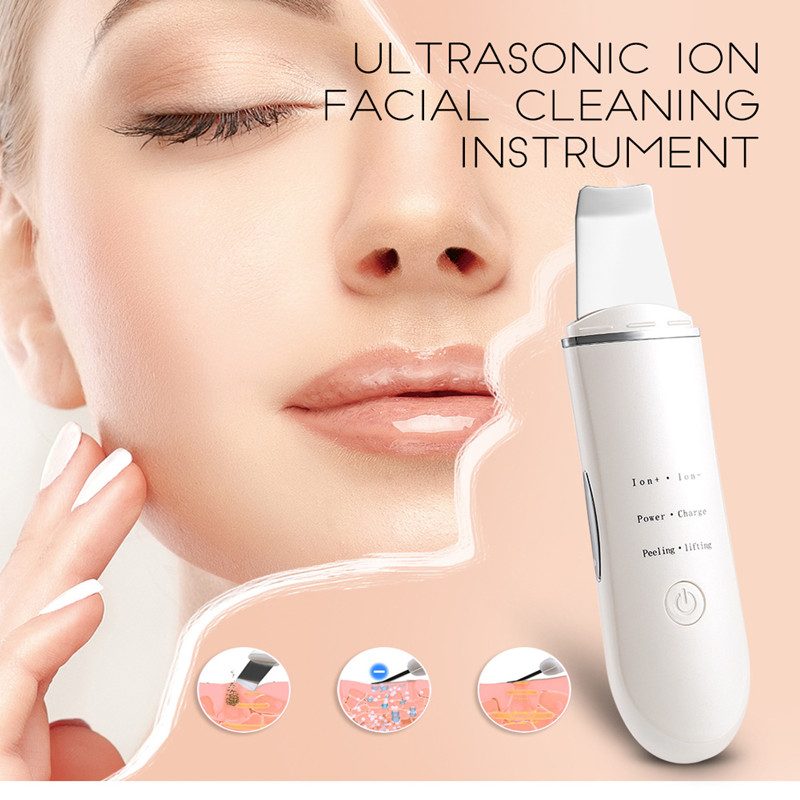 Image 2 - Rechargeable Ultrasonic Ion Face Skin Scrubber Facial Cleaner Cleansing Spatula Peeling Vibration Blackhead Removal Exfoliating-in Powered Facial Cleansing Devices from Home Appliances
