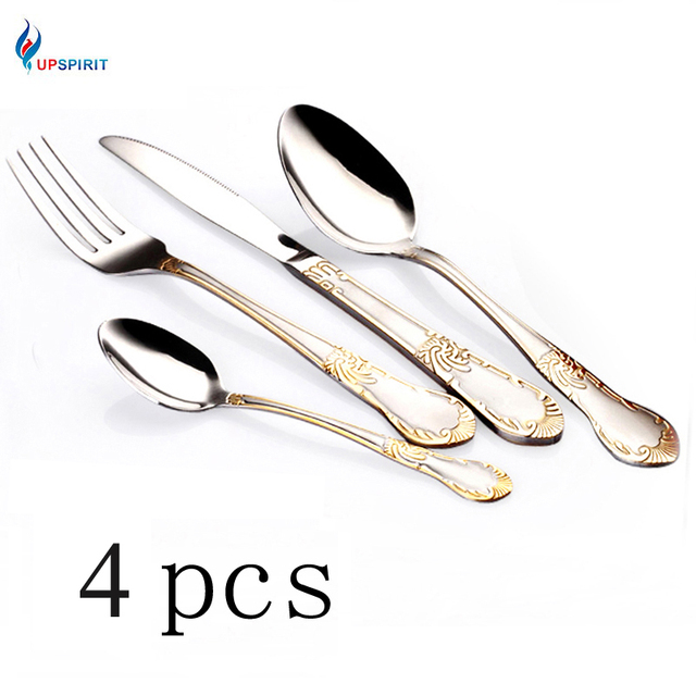 Upspirit 4 pcs Gold Plated Flatware Set Stainless Steel Cutlery Set Dinnerware Tableware Dinner Knife /  sc 1 st  AliExpress.com & Upspirit 4 pcs Gold Plated Flatware Set Stainless Steel Cutlery Set ...