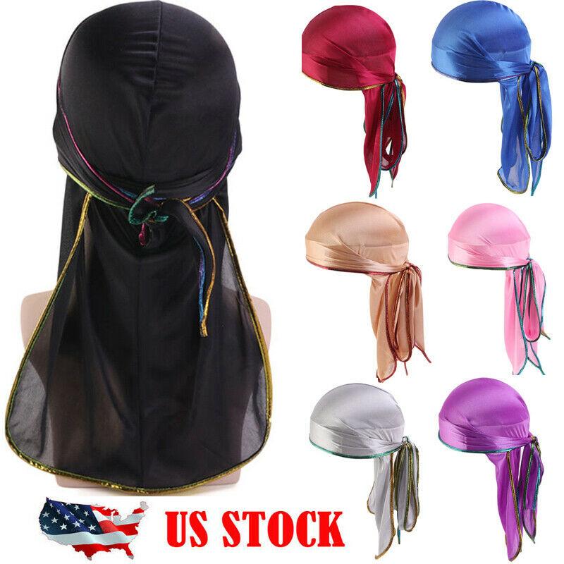 Unisex Men Women Bandana Durag Headwear Headwear Soft Silk Pirate Cap Wrap Hats