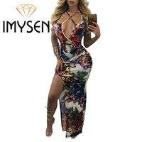 IMYSEN Summer Autumn Dress Women Sexy Cross Deep V Collar Spaghetti Strap Print Dresses Black White