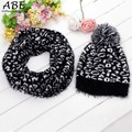 Winter Leopard Scarf Hat Knitted Scarf And Hat Set For Women Thicken Knitted Hat Scarf set Best Quality