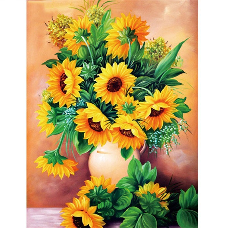 Full Square Diamond Embroidery Sunflower 5d Diy Diamond Painting Cross Stitch Sun Flowers Full Round Diamond Mosaic Peacock Vase Bright Luster Needle Arts & Crafts