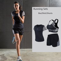 Women's Running Sets Sports&Exercise Sets Sports Bras and Short Sleeve Shirt and Shorts for Running Yoga Fitness Sportswear