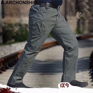 Image 1 - Мужские тактические брюки карго IX9, повседневные хлопковые брюки карго в стиле милитари, SWAT, 2017