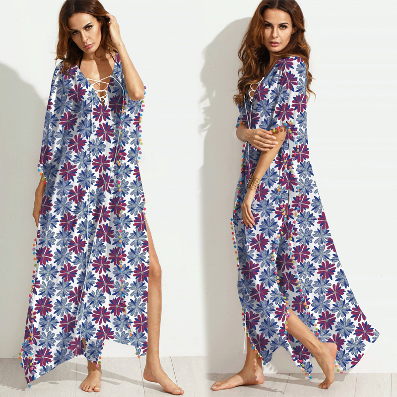 97d3a8a3f64 Jessie Vinson Bohemian Style Tropical Print Tassel Split Maxi Dress V neck  Lace Up Loose Long Dress Summer Beach Holiday-in Dresses from Women s  Clothing on ...