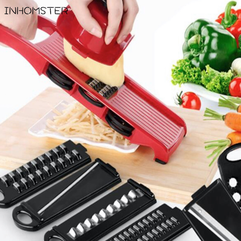 free shipping 6 Piece Blades Mandoline Slicer + 1 Julienne Peeler Vegetable Slicer Fruit Vegetable Tools Kitchen Accessories