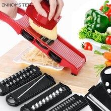 Kostenloser versand 6 Stück Klingen Mandolinenschneider + 1 Julienne Schäler Gemüseschneider Obst Gemüse Werkzeuge Küche Zubehör