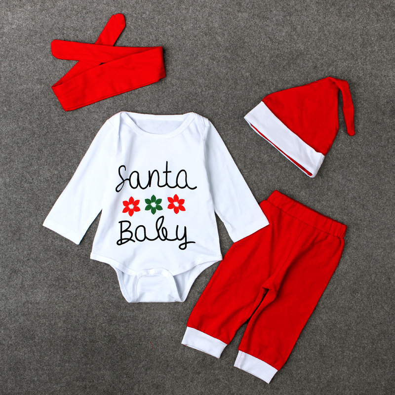 Fashion Cute Newborn Infant Baby Clothes 3pcs White Tops Playsuit Red Pants Baby Christmas Outfits Clothing