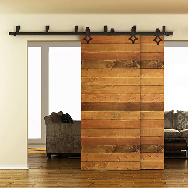 5FT To 8FT Rhombus Sliding Barn Wood Door Hardware Steel American Country  Style Black Barn Doors