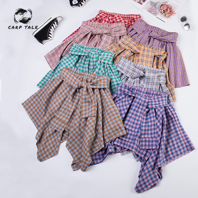 Irregular Plaid Skirt Female Elastic Waist Shirt High Waist Casual Wild College Wind Women's 2019 New Korean Summer Skirt