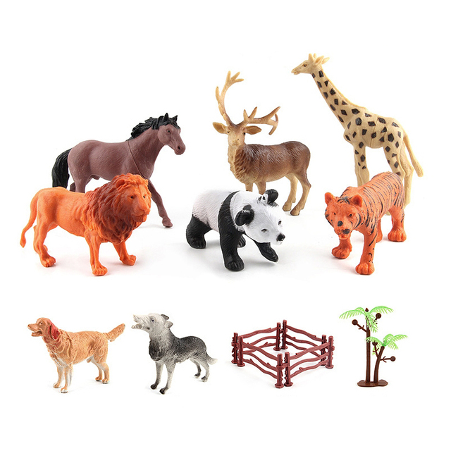 Plastic Zoo Animal Model Figure Lion Hippo Horse Cattle Dog Giraffe