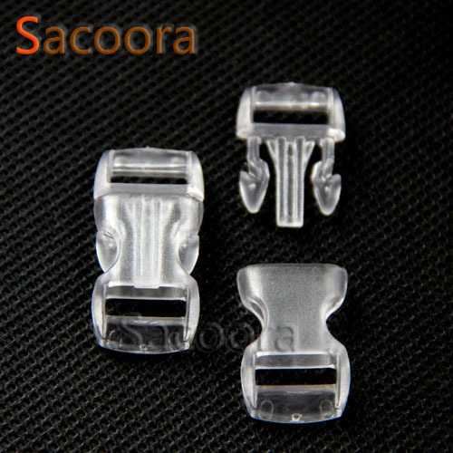 Contoured Side Release Mini Buckles For Paracord Survival Bracelet/backpack Clear White 10mm 100pcs/pack 3/8