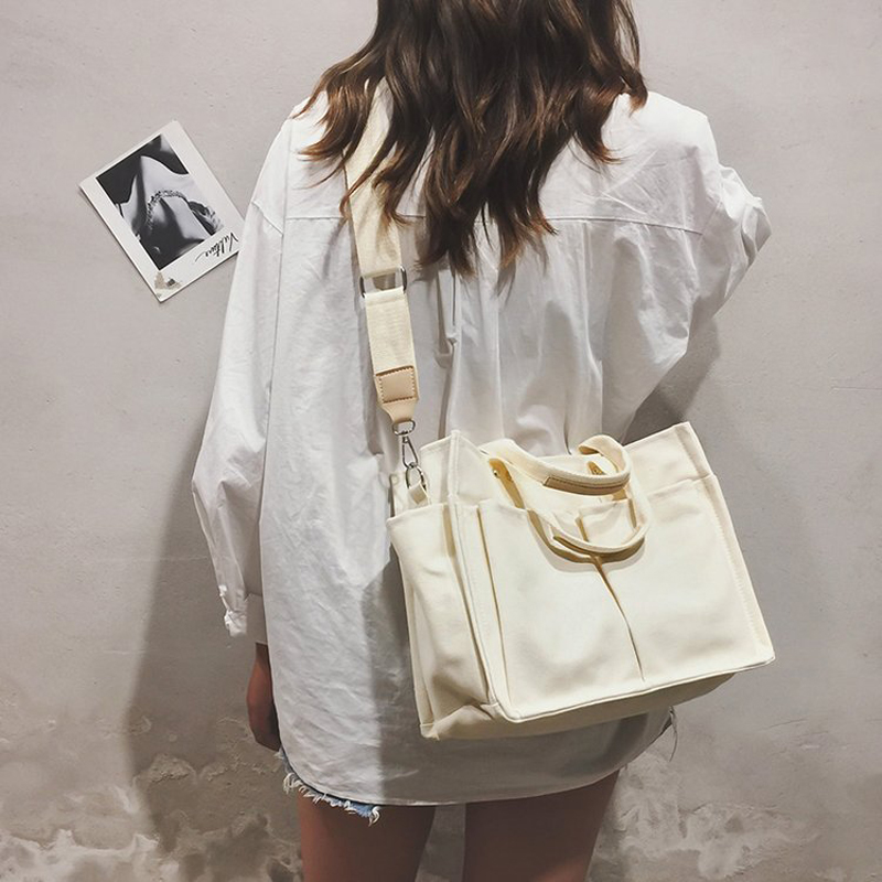 2019 New Canvas Bag Reusable Shopping Bags Grocery Tote Bag Cotton Daily Use Handbags Women Casual Handbag