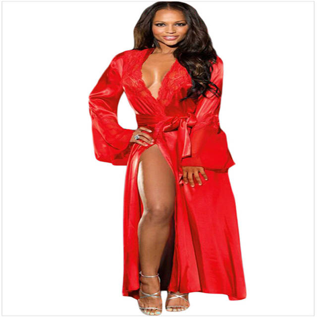 8ef74bf8c826 placeholder Sexy Lace Chiffon V neck Long Maxi Belt Night Dress Robe Gown  Women Nightgown Sleepwear Lingerie