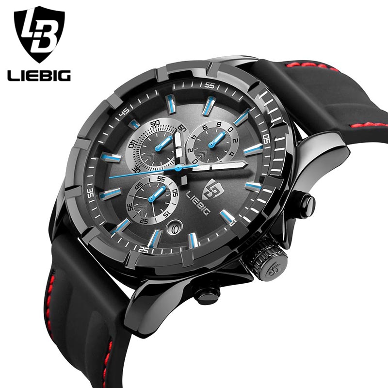 LIEBIG font b Men S b font Watches 50M Water Resistant Alarm Clock Hardlex Glass silicon