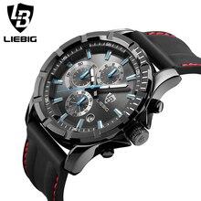 LIEBIG Men'S Watches 50M Water Resistant Alarm Clock Hardlex Glass silicon Strap Top Luxury Military Sport Quartz Watch Men