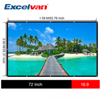 Excelvan 72 inch 16:9 Portable Projector Screen Plastic Screen for Home theater for Unic Excelvan Proyector Projection Screen