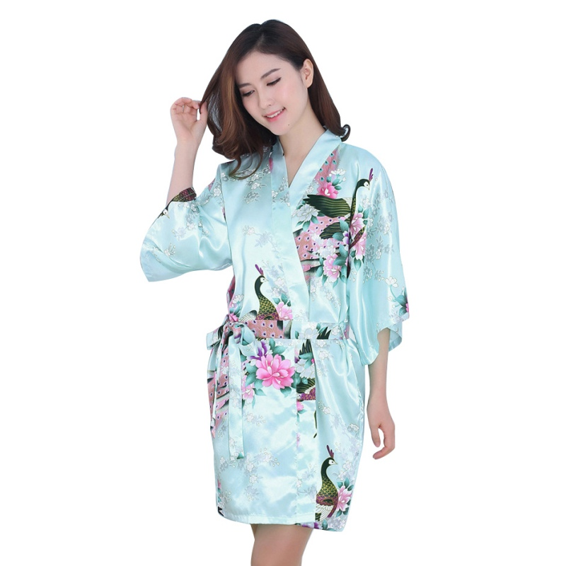 New Sexy Women V-Neck Robes Pajamas Vogue Peacock Printed Silk Loose Nightwear Dress LY3