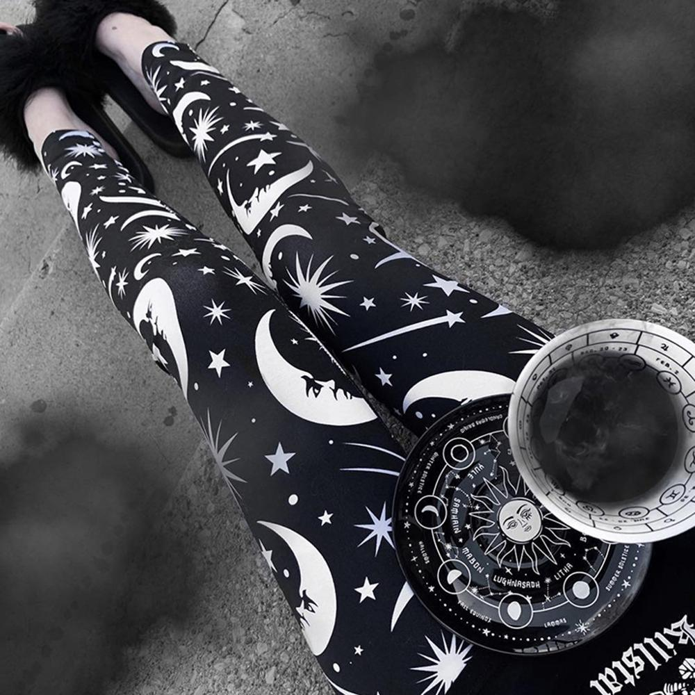 Women Gothic Pants Star Moon Pattern Print Teen Girl High Waist Leggings Full Length Elastic Pencil Trousers Punk Daily