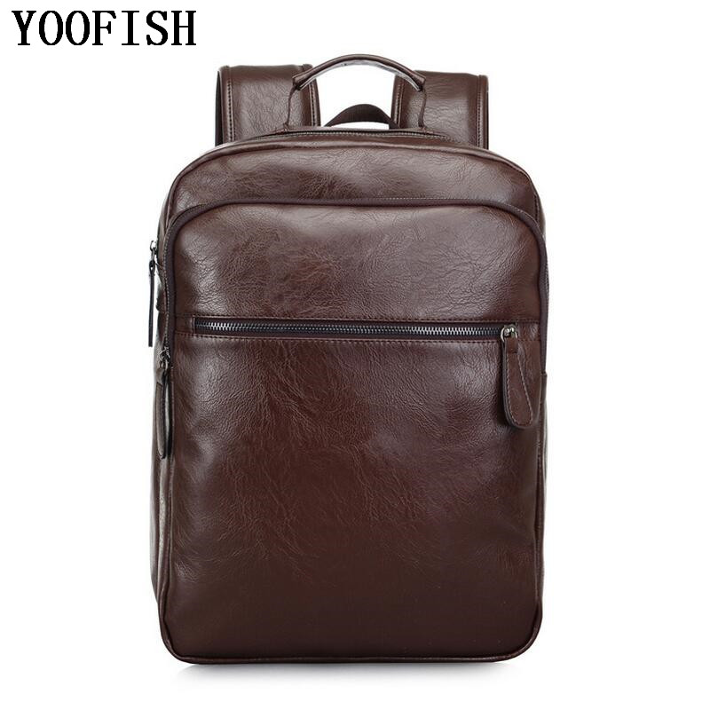 YOOFISH Brand Preppy Style PU Leather School Backpack Bag For College Simple Design Men Casual Daypacks mochila male New