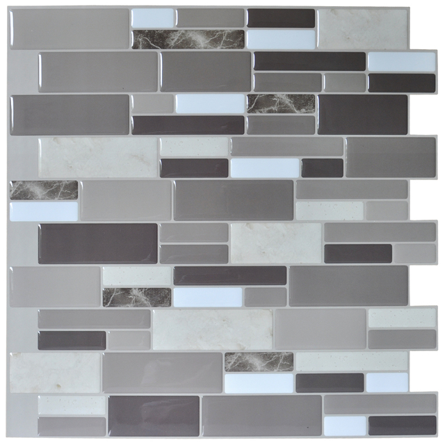 12 X12 L And Stick Tile Brick Kitchen Backsplash Wall Stone Gray Design 6 Sheets Tiles Paper