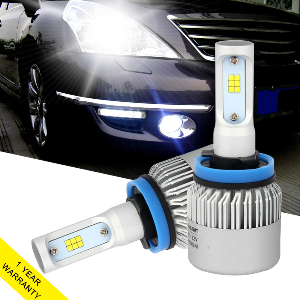 One Set Auto Car Light <font><b>H11</b></font> H8 H9 <font><b>Led</b></font> Car Headlight <font><b>72W</b></font> 8000LM Automobiles Headlamp Bulb Replacement Fog Light 6500k Car Styling