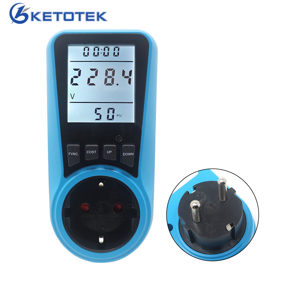 Medidor de energia ac 230 v 50 hz ue eua fr plugue tomada analisador digital wattmeter watt energia monitor tempo volt amp herz watt kwh preço