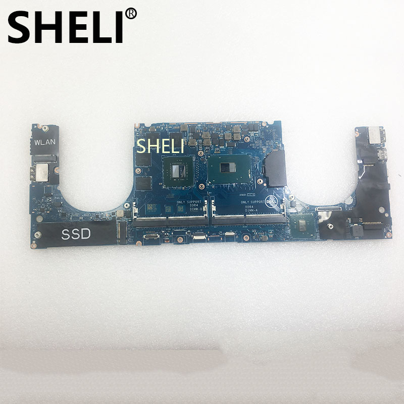 SHELI High Quality For XPS 15 9560 Laptop Motherboard LA-E331P 0YH90J CN-0YH90J With I7-7700HQ CPU GTX1050 4GB GPU 100% Tested