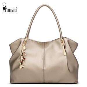 Image 1 - FUNMARDI Bolso de lujo de piel sintética con asa superior para mujer, bolso de hombro femenino, WLHB1778, 2020