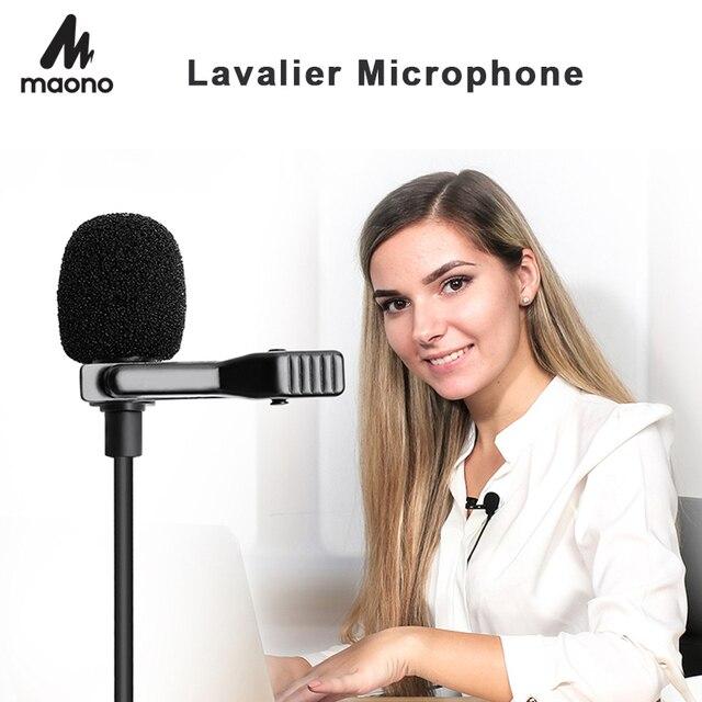 MAONO Lavalier Microphone Mini Portable Microphone Condenser Clip on Lapel Mic Wired Collar Mikrofo/Microfon for Phone Laptop