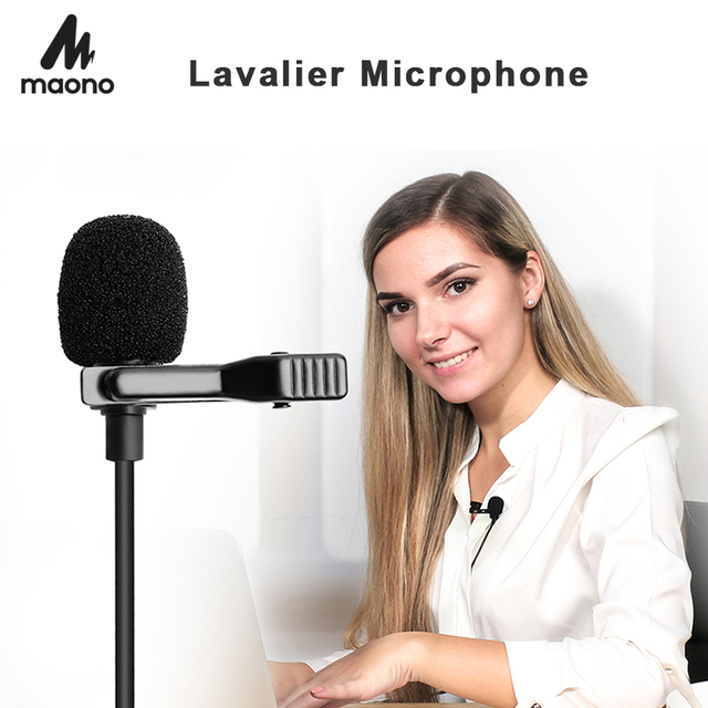 MAONO yaka mikrofon Mini taşınabilir mikrofon kondenser klipsli yaka kablolu yaka Mikrofo/Microfon telefon Laptop için
