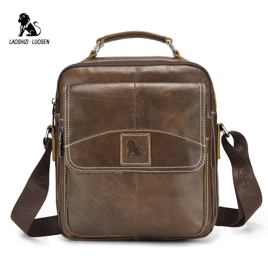 LAOSHIZI LUOSEN Genuine Leather Shoulder Bags For Men Messenger Bag Small Male Tote Vintage New Crossbody Bags Men's Handbag diiwii bag new men casual small genuine leather shoulder bags leather messenger crossbody travel bag handbag