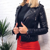 Autumn Soft Faux Leather Jackets Zipper Slim Long Sleeve Turn down Collar Short Coats Female Ladies Leather Jacket Motorcycle