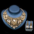 Lan palace costume jewelry necklace sets gold plated dubai Rhinestone necklace and earrings for wedding six colors free shipping