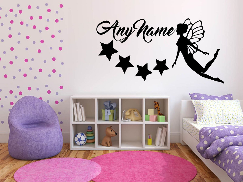 Personalized Customize Fairy Any Name Vinyl Wall Sticker Art Decal for Kids room bedroom Wallpaper Mural Girl Home decor J621