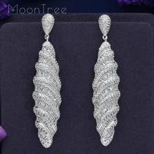 цены MoonTree 77mm Luxury Water Drop Full Mirco Pave Cubic Zircon Silver Color Dubai Wedding Copper Jewelry Dangle Earring Pendientes