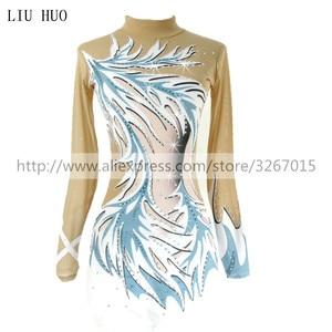 Image 1 - Women rhythmic gymnastics leotards for girls performance suit Artistic gymnastics dress Long sleeve Blue white stripes Kids