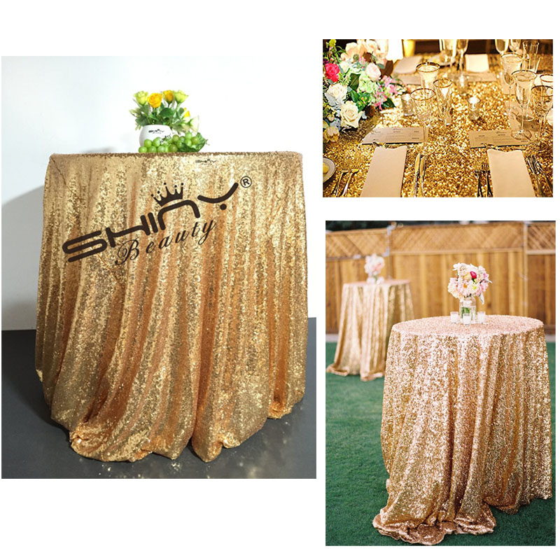 New FREE SHIPPING 72in Round Gold Sequin Tablecloth,wholesale Wedding  WZ26
